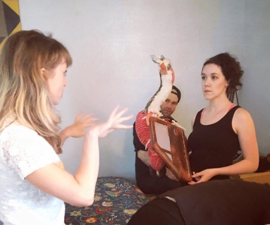 Puppeteering Birdcar for the pilot of (Strictly) For The Birds. Photo: @forthebirds.to Instagram.